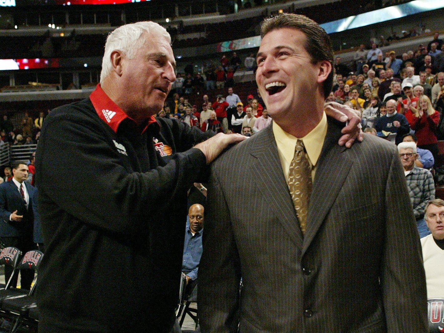 From 2004: Iowa coach Steve Alford and his former coach at Indiana, Bob Knight, the Texas Tech coach, share a laugh in 2004.
