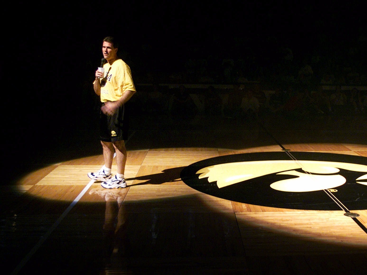 University of Iowa basketball coach Steve Alford speaks during his team's Game Night festivities on Oct. 16, 1999, in Iowa City. Alford, who was starting his first season at Iowa, held the event as a kickoff to the start of practice.
