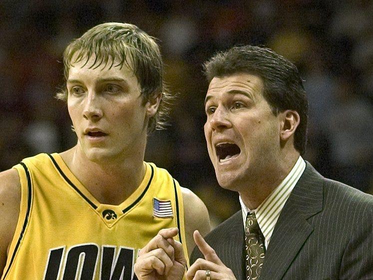 From 2005: Hawkeyes coach Steve Alford, right, and guard Adam Haluska.