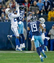 Indianapolis Colts free safety Malik Hooker (29) breaks up a pass intended for Tennessee Titans wide receiver Corey Davis (84) at Nissan Stadium in Nashville, Tenn., on Sunday, Dec. 23, 2018.