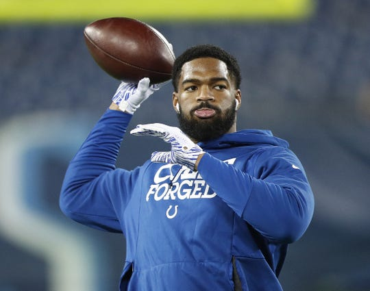 Indianapolis Colts quarterback Jacoby Brissett (7) before the start of their game against the Tennessee Titans at Nissan Stadium in Nashville, Tenn., on Sunday, Dec. 30, 2018.
