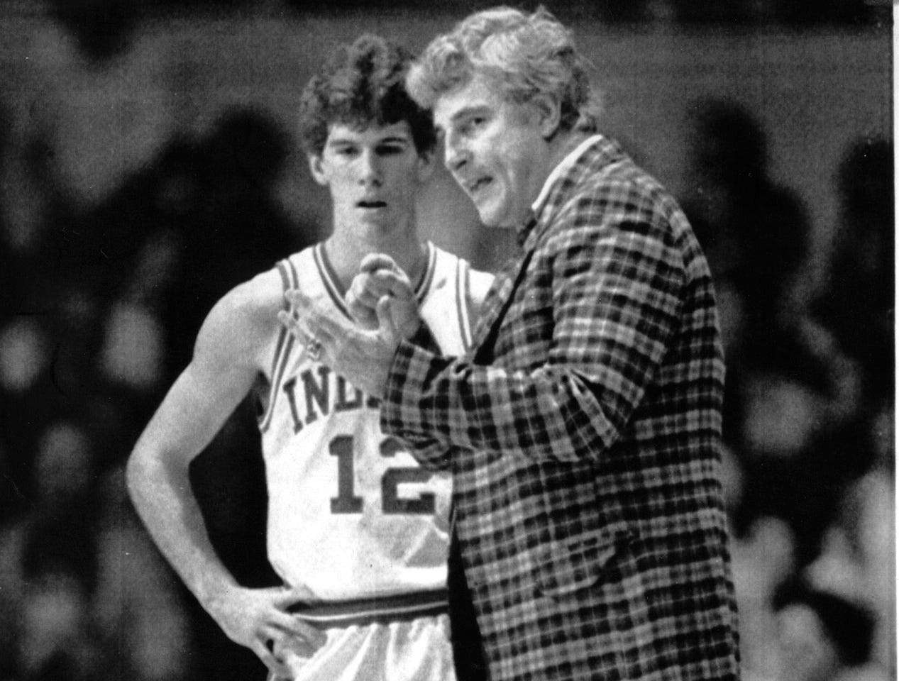 -- Indiana University basketball coach Bobby Knight with Steve Alford March 18 1984.