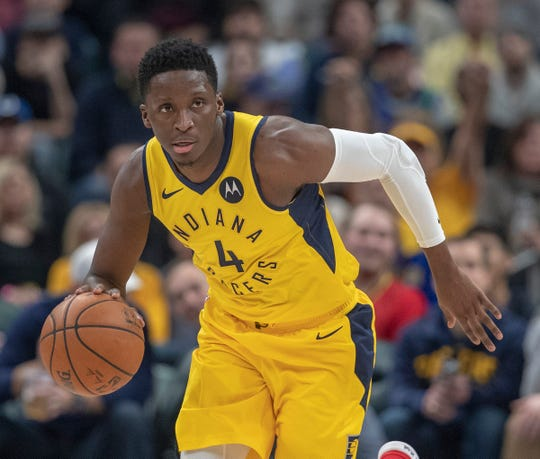 Victor Oladipo of the Indiana Pacers, during game action against the Atlanta Hawks at Bankers Life Fieldhouse, Indianapolis, Tuesday, Dec. 31, 2018. Indiana won 116-108.