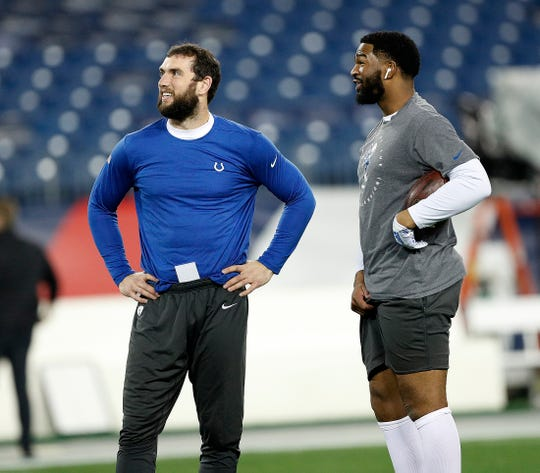Indianapolis Colts quarterback Andrew Luck (12) and Jacoby Brissett (7) before the start of their game against the Tennessee Titans at Nissan Stadium in Nashville, Tenn., on Sunday, Dec. 30, 2018.