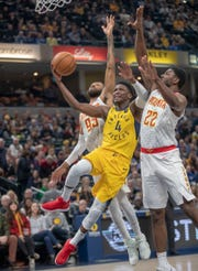 at Bankers Life Fieldhouse, Indianapolis, Tuesday, Dec. 31, 2018. Indiana beat Atlanta 116-108.