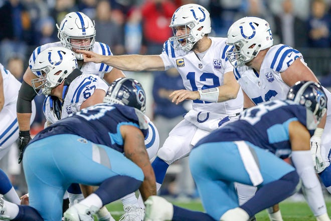 Indianapolis Colts quarterback Andrew Luck (12) calls out a potential defensive rusher against the Tennessee Titans at Nissan Stadium in Nashville, Tenn., on Sunday, Dec. 23, 2018.
