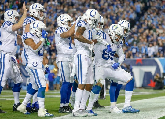 Indianapolis Colts tight end Eric Ebron (85) celebrates after pulling in a touchdown pass against the Tennessee Titans at Nissan Stadium in Nashville, Tenn., on Sunday, Dec. 23, 2018.