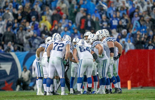 The Indianapolis Colts huddle in the game against the Tennessee Titans at Nissan Stadium in Nashville, Tenn., on Sunday, Dec. 23, 2018.