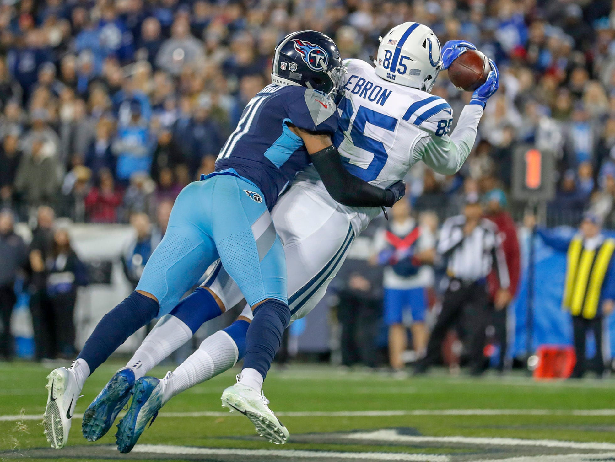 Indianapolis Colts tight end Eric Ebron (85) pulls in a touchdown pass against the Tennessee Titans at Nissan Stadium in Nashville, Tenn., on Sunday, Dec. 23, 2018.