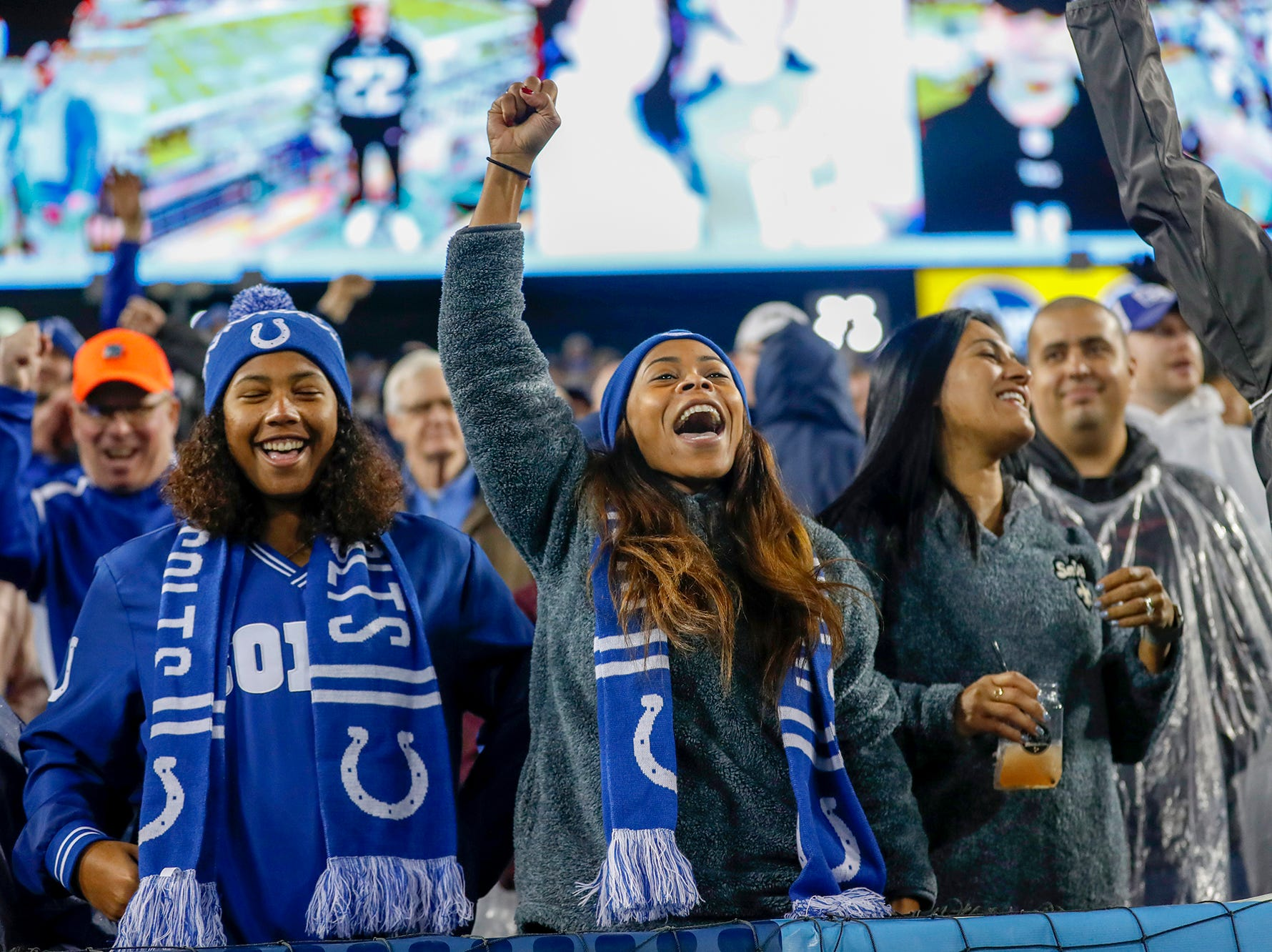 Indianapolis Colts fans cheer as the seconds tick off the clock in the game against the Tennessee Titans at Nissan Stadium in Nashville, Tenn., on Sunday, Dec. 23, 2018.