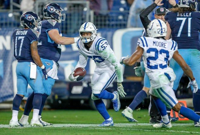 Indianapolis Colts outside linebacker Darius Leonard (53) celebrates a late interception against the Tennessee Titans at Nissan Stadium in Nashville, Tenn., on Sunday, Dec. 23, 2018.