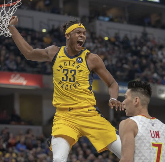 Myles Turner of the Indiana Pacers yells after a dunk during action against Atlanta, at Bankers Life Fieldhouse, Indianapolis, Tuesday, Dec. 31, 2018. Indiana beat Atlanta 116-108.