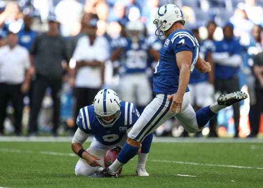 Indianapolis Colts kicker Adam Vinatieri (4) kicks and makes a field goal against the Houston Texans at Lucas Oil Stadium on Sunday, Sept. 30, 2018. Vinatieri now has made 566 field goals, making him the all-time NFL record holder.