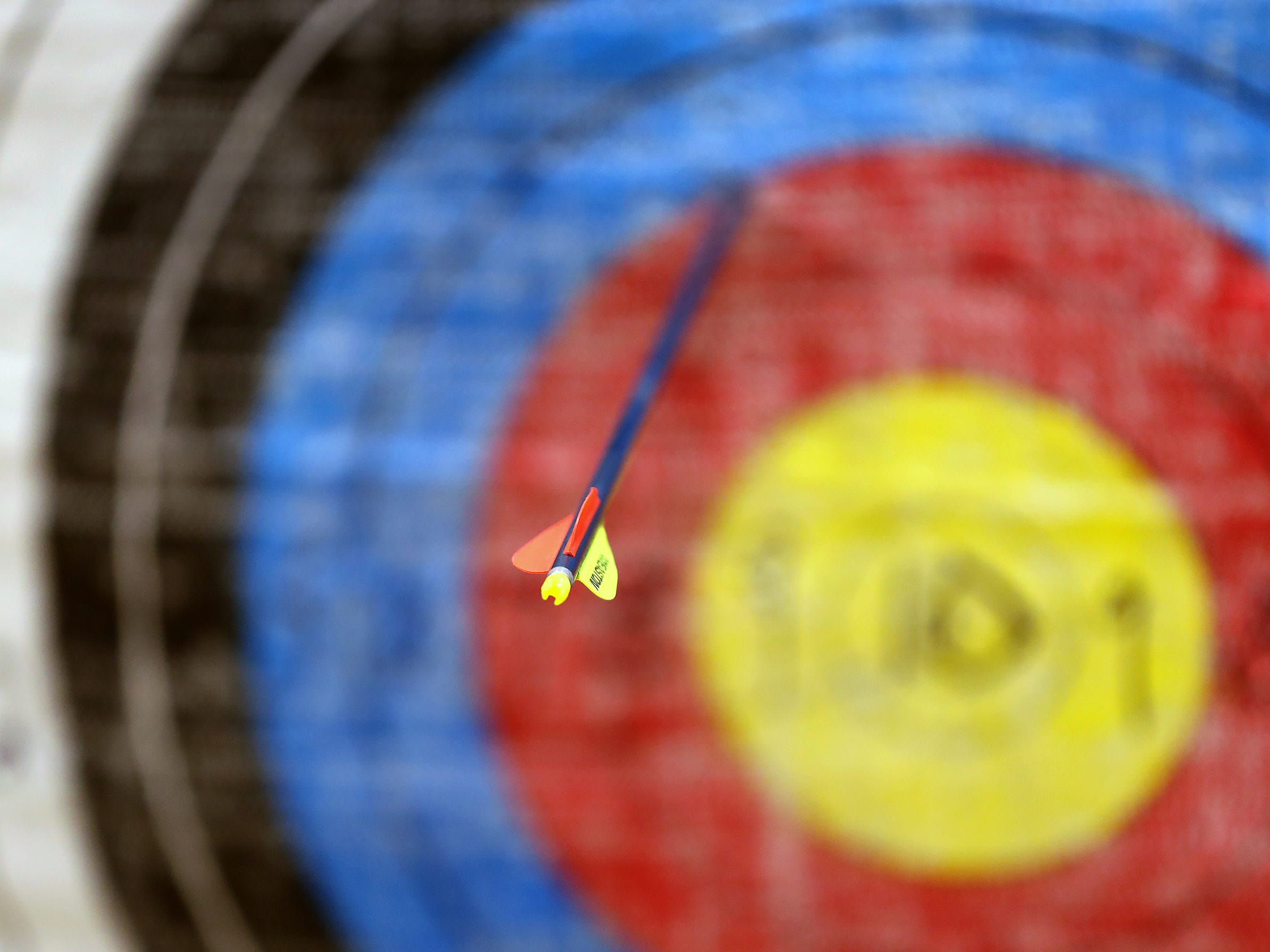 An arrow made it close to the bullseye during archery class at Lew Wallace Elementary IPS 107, Thursday, Dec. 20, 2018.
