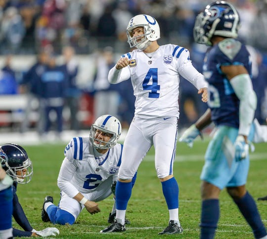 Indianapolis Colts kicker Adam Vinatieri (4) makes a field goal late in the game against the Tennessee Titans at Nissan Stadium in Nashville, Tenn., on Sunday, Dec. 23, 2018.
