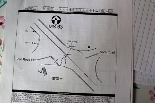 Joey Beard was joy riding with his friends while under the influence of alcohol on March 24, 2017, when he failed to stop at an intersection, colliding with Lauren Norris' car at excessive speed. Lauren was killed in the crash. A police report shows a diagram of the collision.