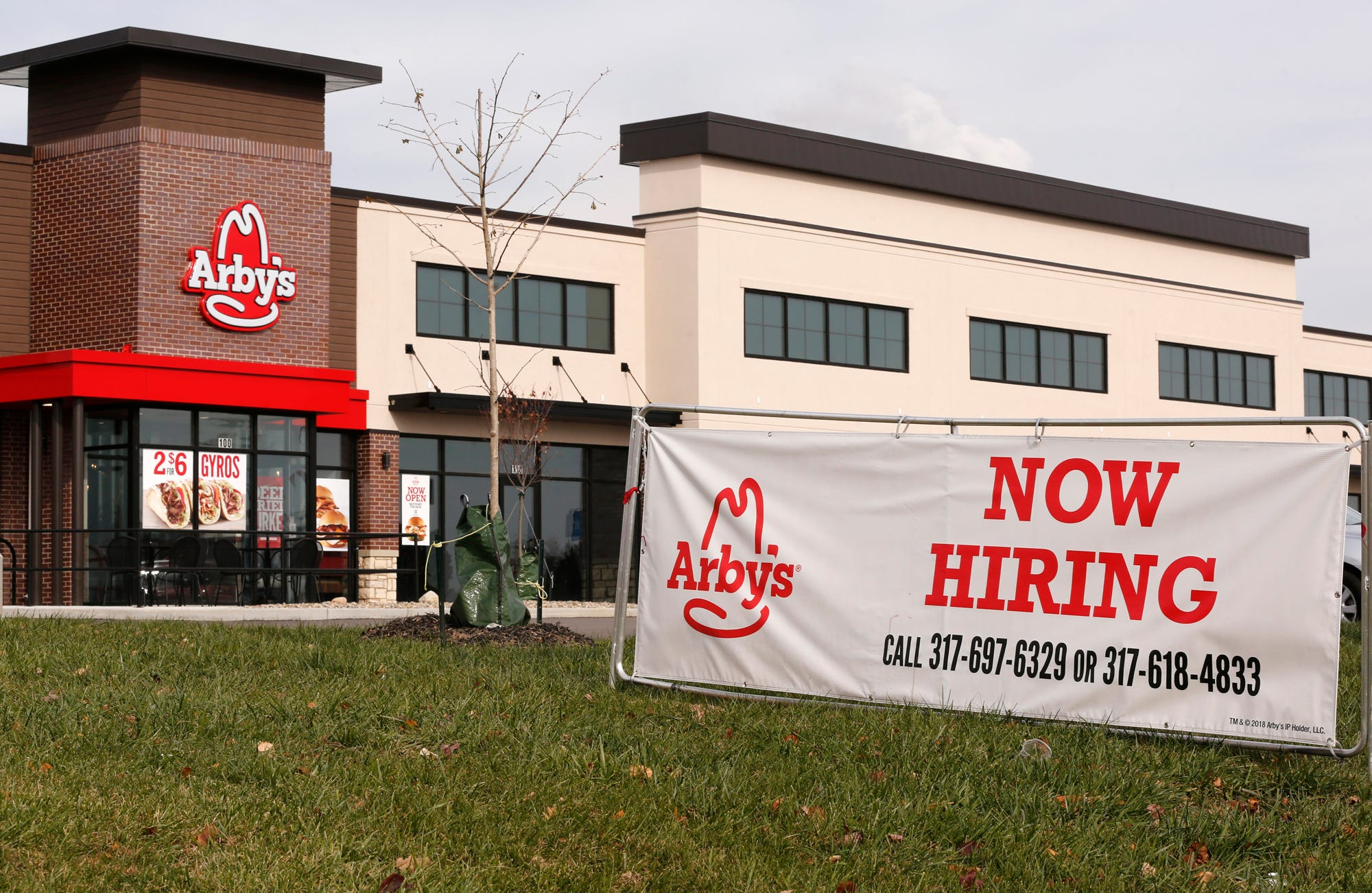 Now Hiring sign posted at Arby's on Veterans Memorial Parkway Wednesday, November 14, 2018, in Lafayette.