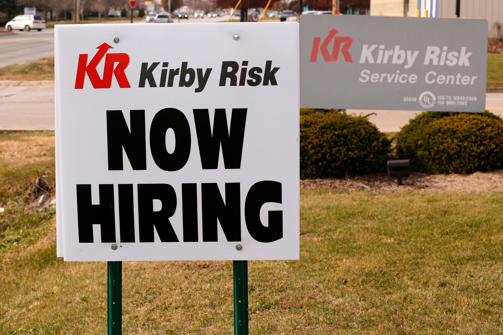 Now Hiring sign posted outside the Kirby Risk Service Center Wednesday, November 14, 2018, at 3574 McCarty Lane in Lafayette.