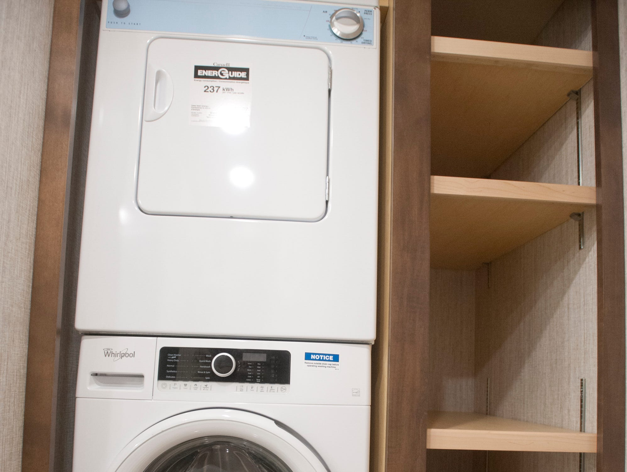The master suite's closet includes a stacked washer-dryer.11 December 2018