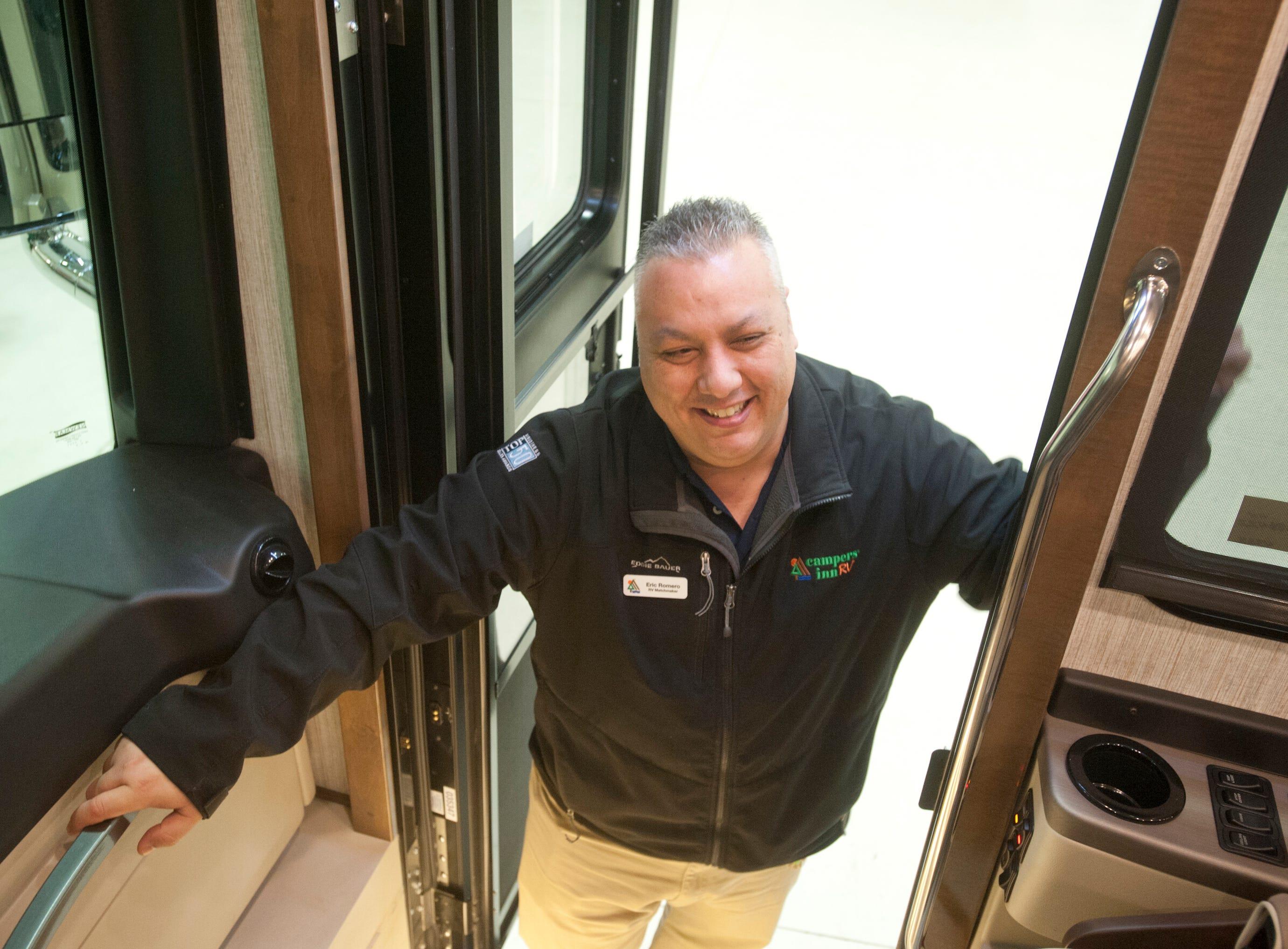 Eric Romero, sales representative for Campers Inn in Clarksville, climbs aboard the Dutch Star11 December 2018