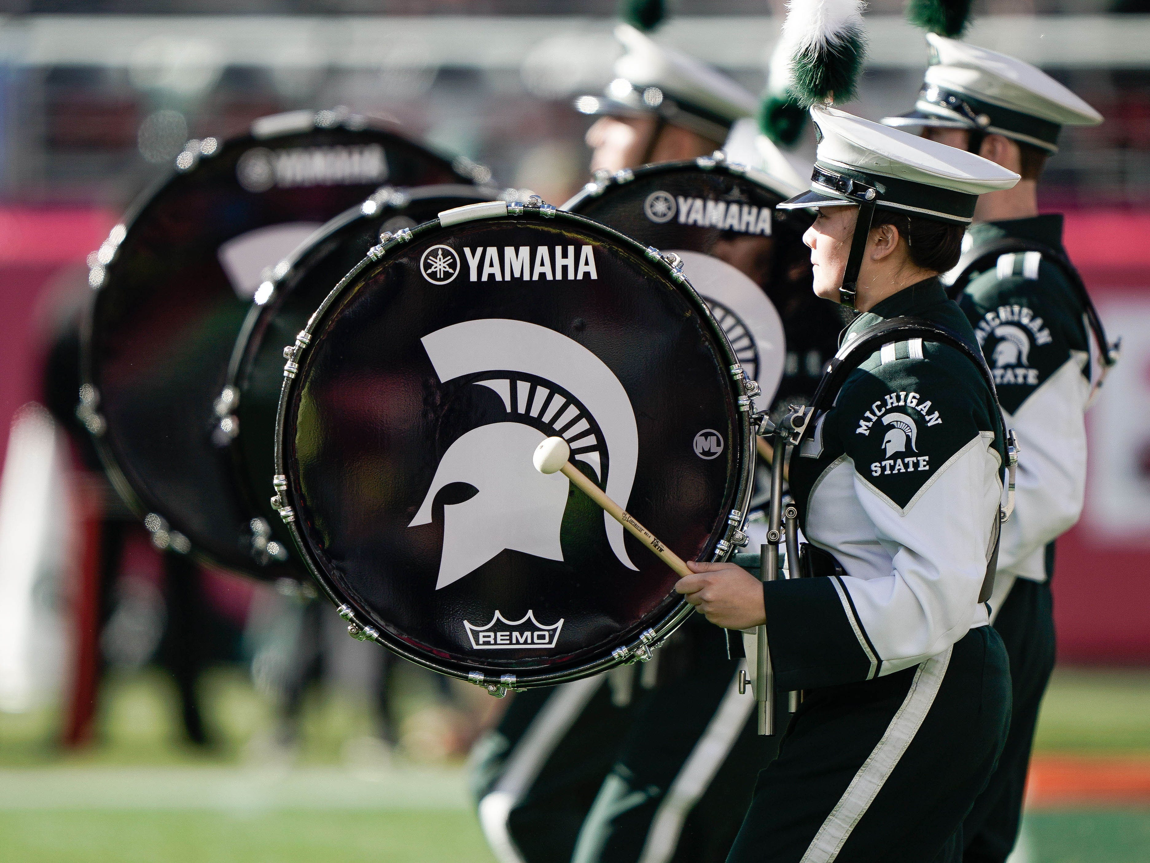 Michigan State Spartans band entertains the crowd before the game against the Oregon Ducks at Levi's Stadium.