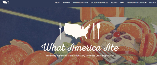 A screenshot from the What America Ate website.