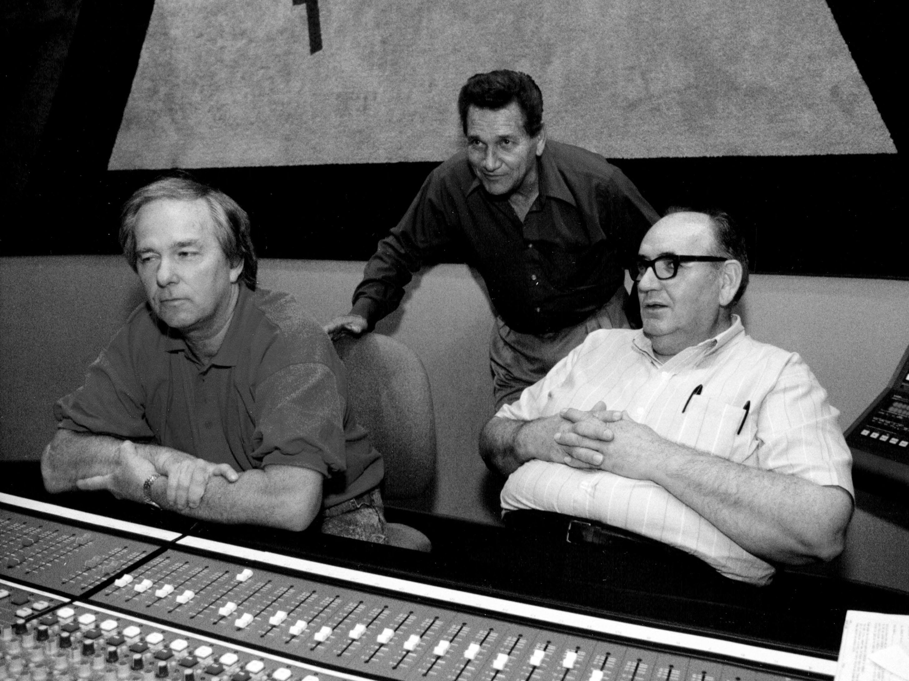 J.M. Van Eaton (from left), Billy Lee Riley and Roland James listen to the playback of a just recorded song at Sam Phillips Recording studio on Friday, May 8, 1992. The trio recorded together at Sun Studio for Sam Phillips in the mid-to-late 50's and began working together again for a new Billy Lee Riley album. (Karen Pulfer Focht/The Commercial Appeal files)