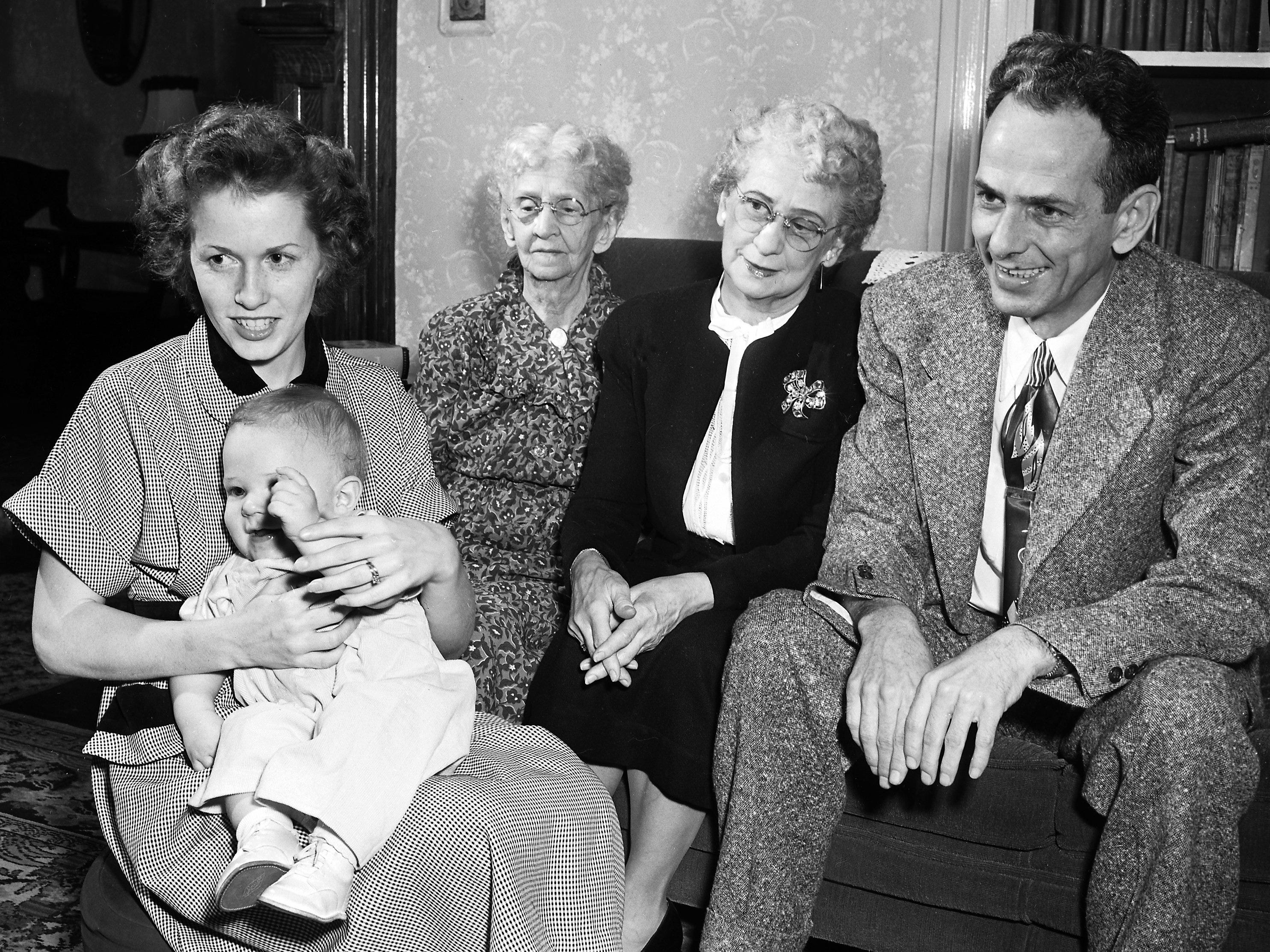 Five generations of the family of Mrs. Kate I. Jones (Center) of 1010 Peabody Avenue assembled at her home in January 1952 for their first reunion.  Present were her great-great-grandson, Gary Walker, her great-granddaughter, Mrs. Gloria Walker, her grandson, Warren Gibson, all of Amarillo, TX and her daughter, Mrs. Olive Gibson (Second Right) of the Peabody address.