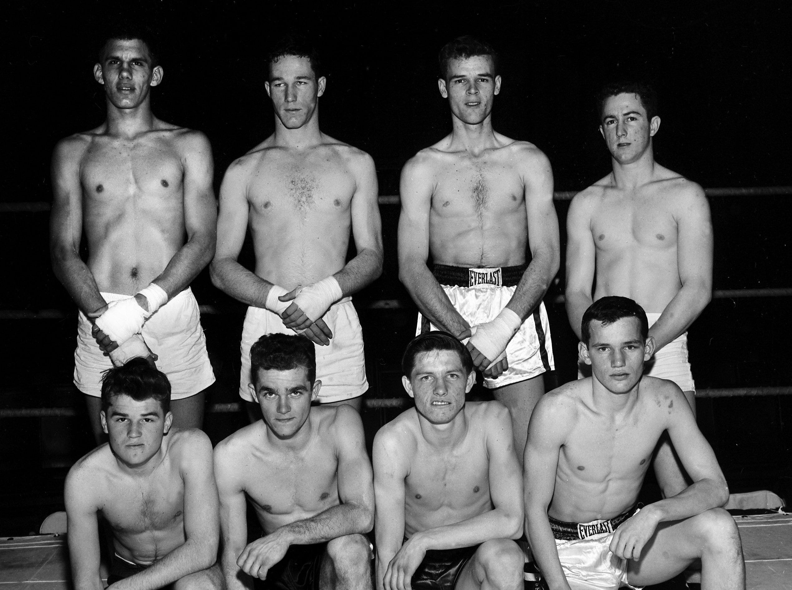 This crew of novices, pictured on 29 Jan 1956, will represent Memphis in the Mid-South Golden Gloves Tournament of Champions at the Auditorium.  They are (Front Row From Left) Keight Branch, flyweight; Herman Stephens, bantamweight; James Moultrie, featherweight and Jimmy Rinehart, lightweight.  Back Row (From Left) George Tiller, heavyweight; Charles Sorsby, lightweight; J.D. Rutherford, middleweight and Johnny Casone, welterweight.