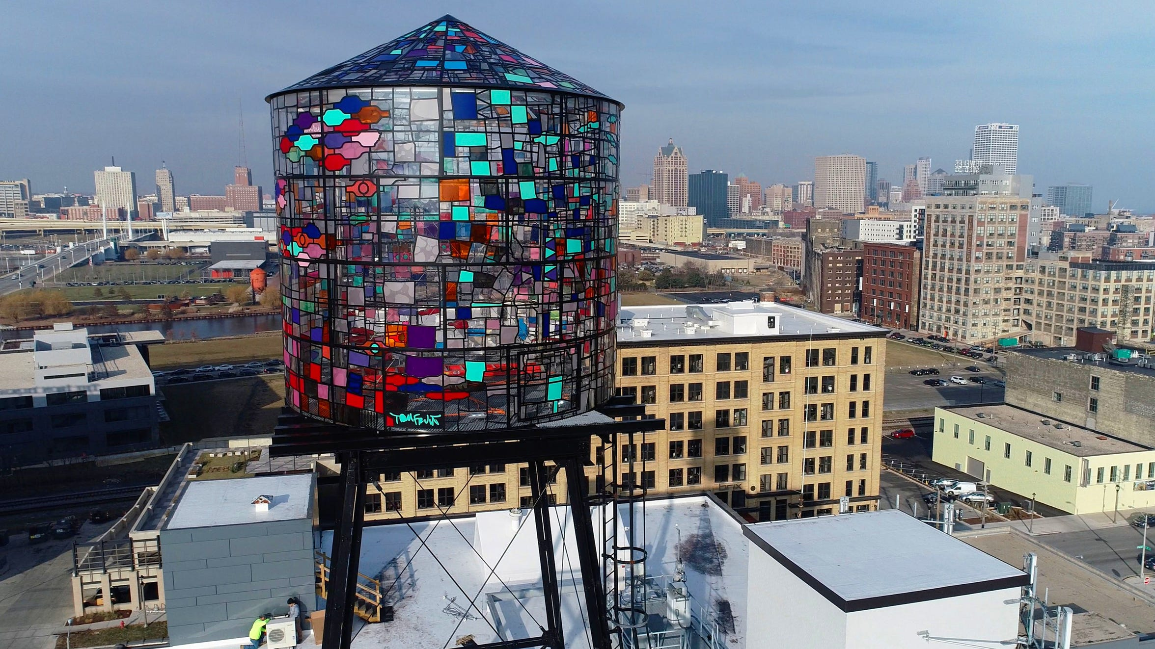 The Coakley Brothers Co. mosaic water tower on South 5th Street in Milwaukee.  The installation of the water tower in September 2017 served as a beacon to the redeveloping Walker's Point neighborhood.