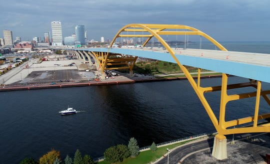 The Hoan Bridge passes over the Kinnickinnic River where it meets Lake MIchigan in Milwaukee.
