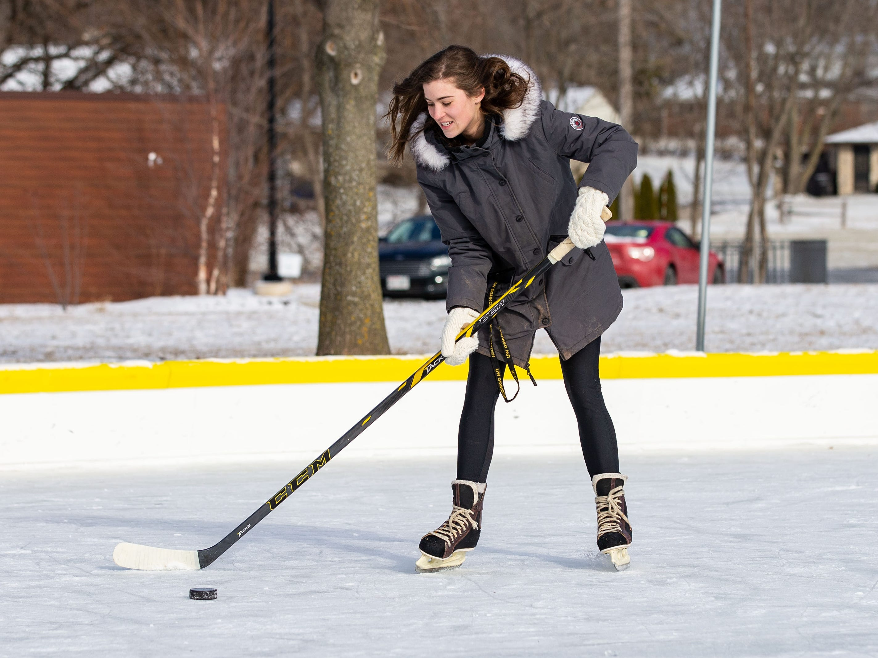 Maddie Schweitzer of Brookfield works on her hockey technique at the Sussex Civic Center ice rink on Sunday, Dec. 30, 2018. The rink is open seven days a week as weather permits. For hours and info visit villagesussex.org.