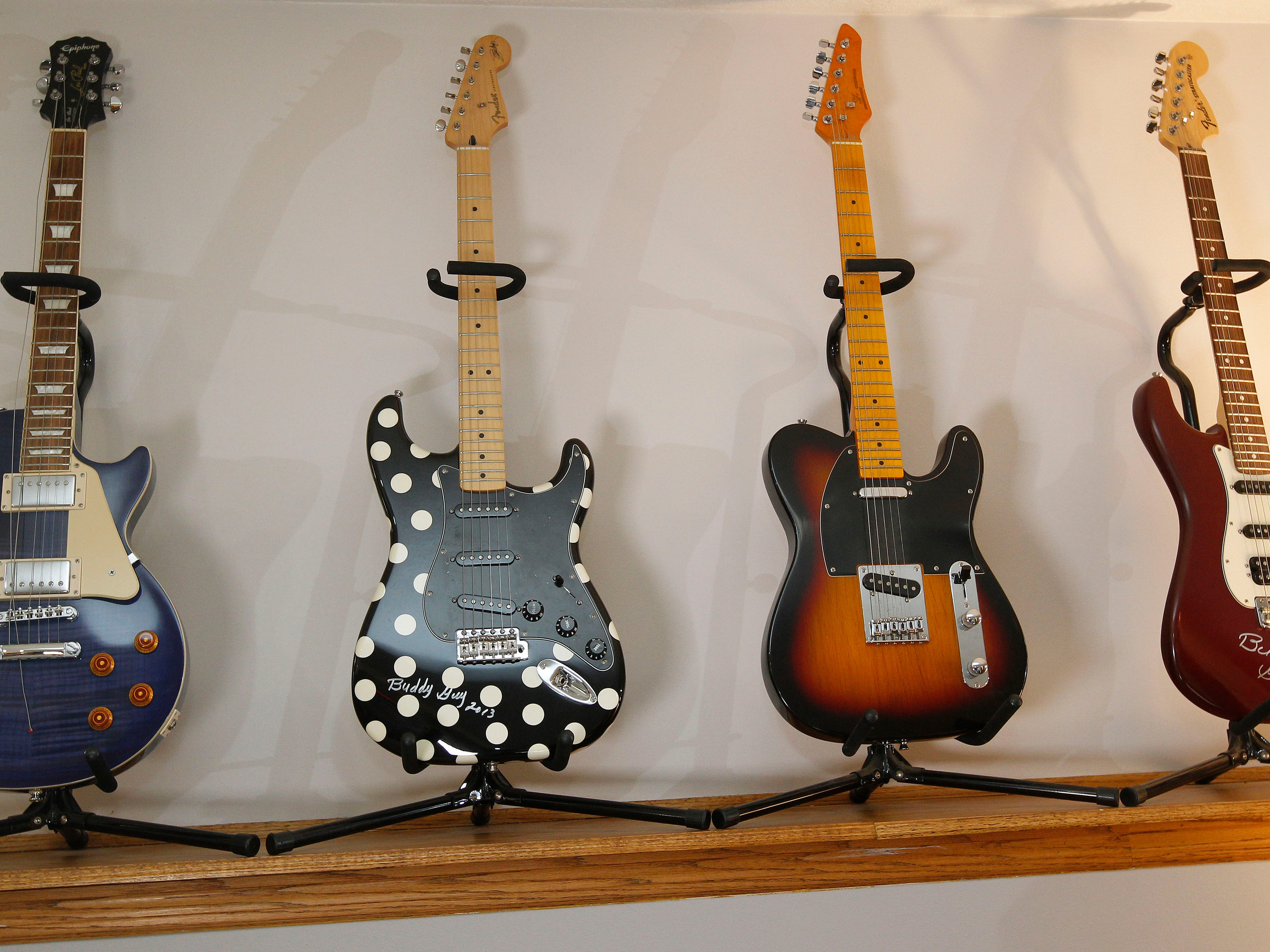 The family room features Bob's guitar collection.