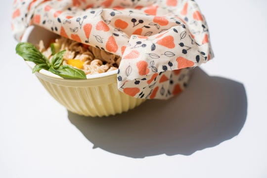 Beejou wraps can be used over and over to enclose leftovers the way plastic wrap would.