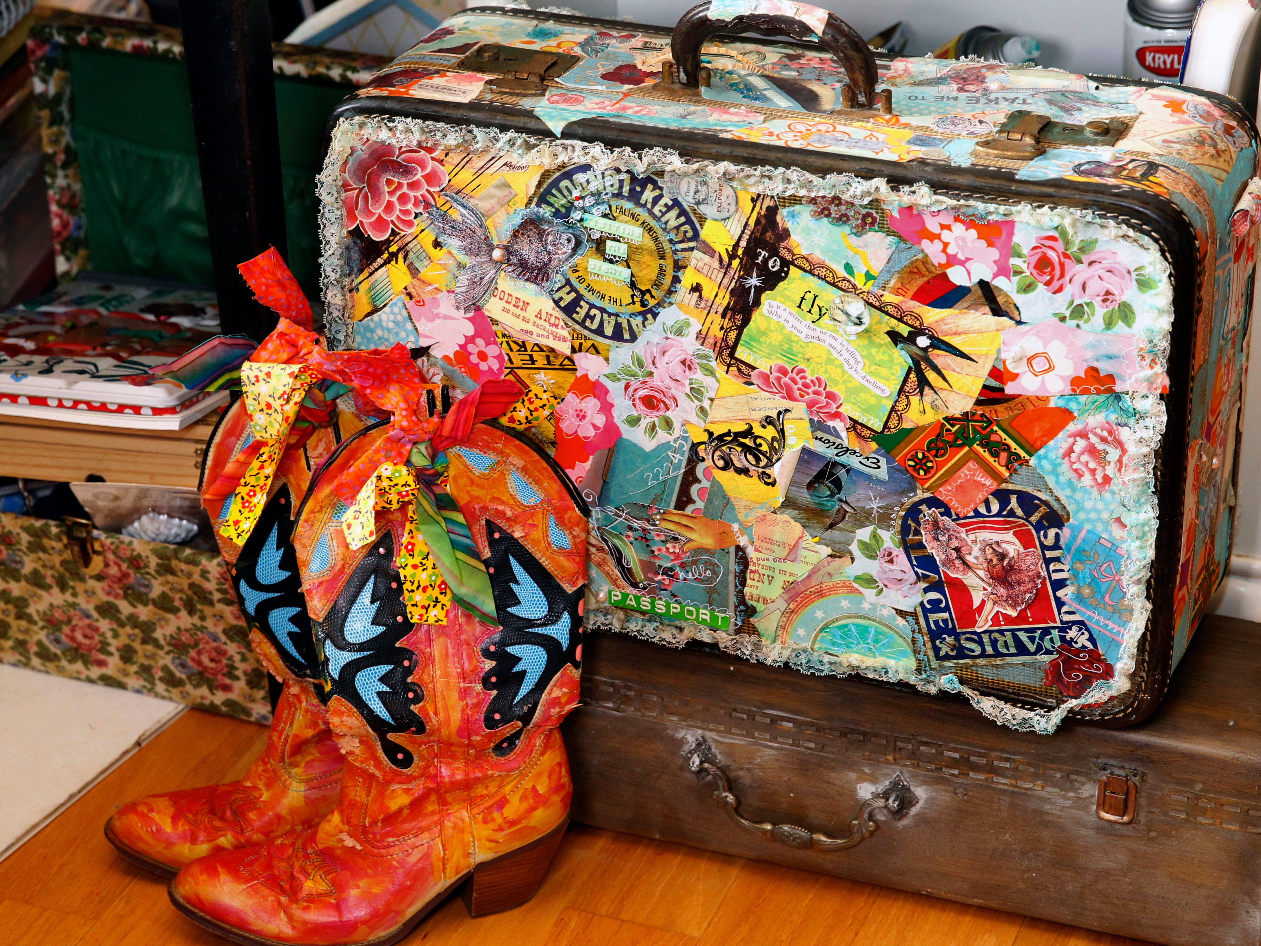 Among many other objects, Kiki Johanning paints boots and embellishes luggage.