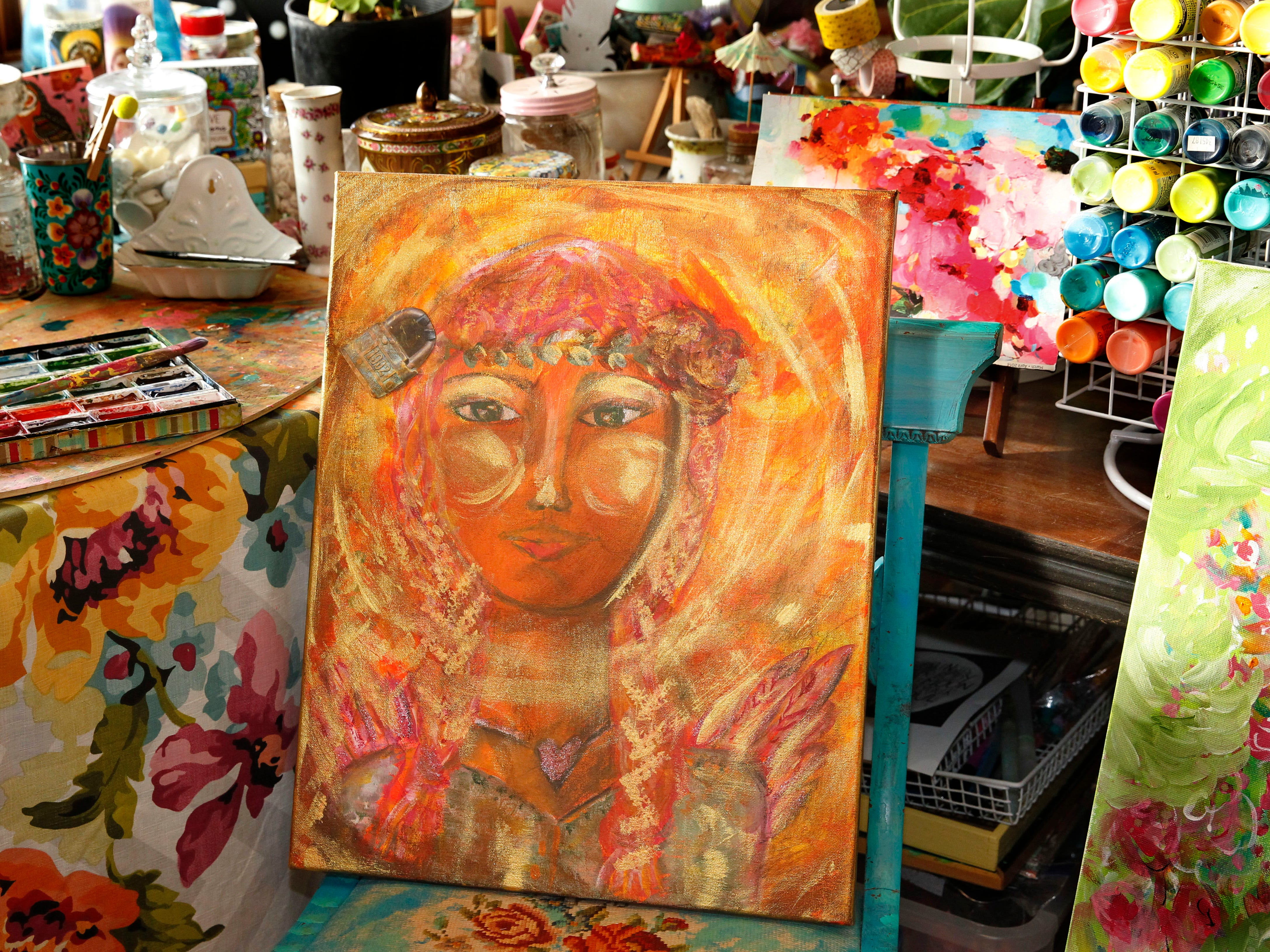 Kiki Johanning's three art studios are filled with her creations and art supplies.