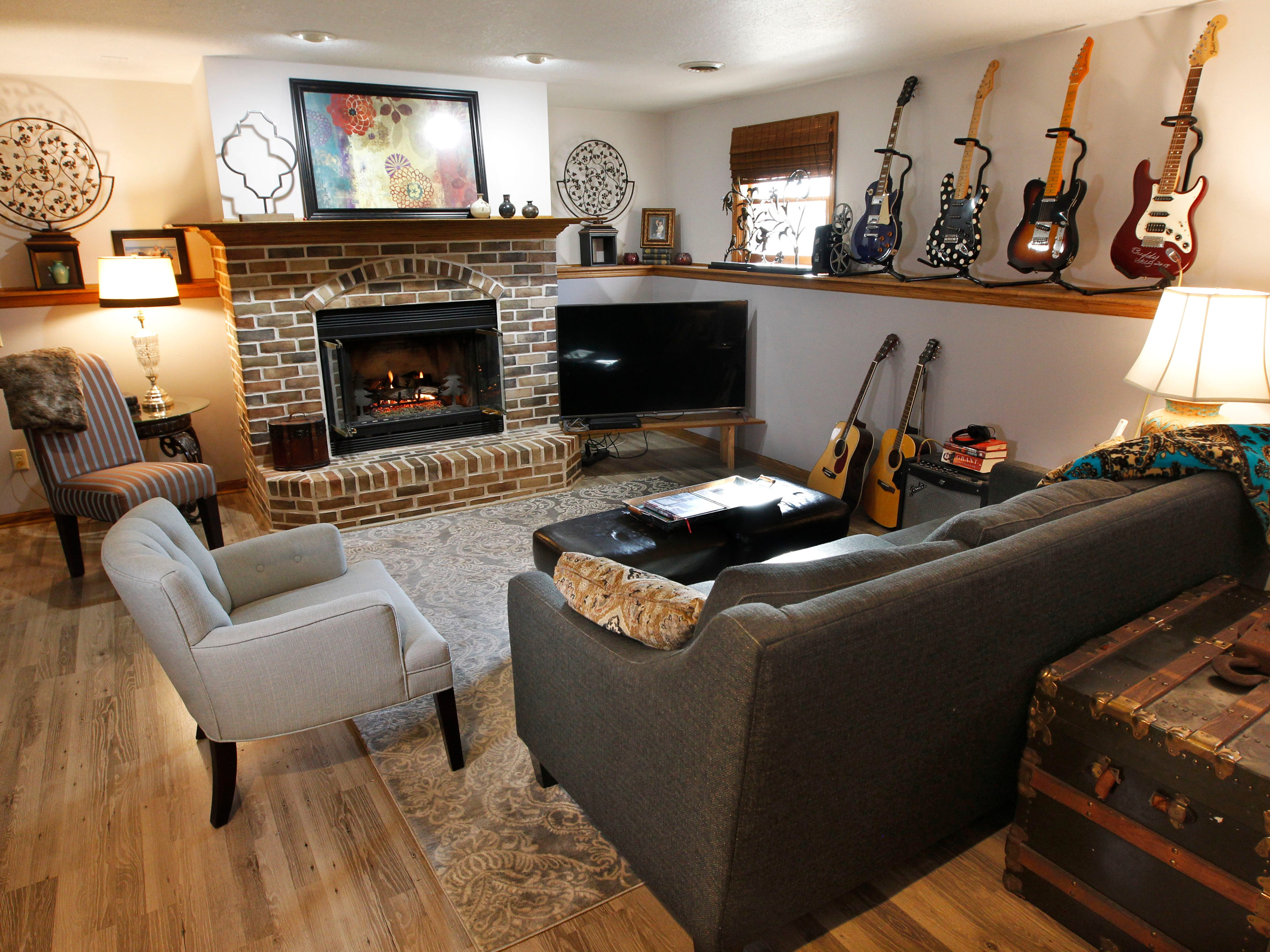Bob Johanning created this family room space in the home's lower level.