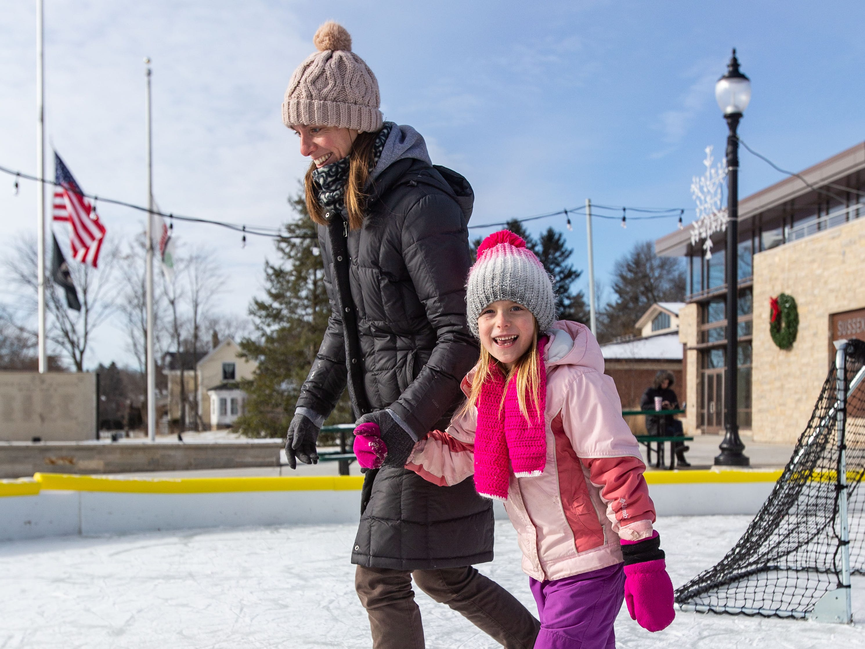 Five-year-old Nadia Weltzin and her mom Tanya of Sussex take a spin around the Sussex Civic Center ice rink on Sunday, Dec. 30, 2018. The rink is open seven days a week as weather permits. For hours and info visit villagesussex.org.