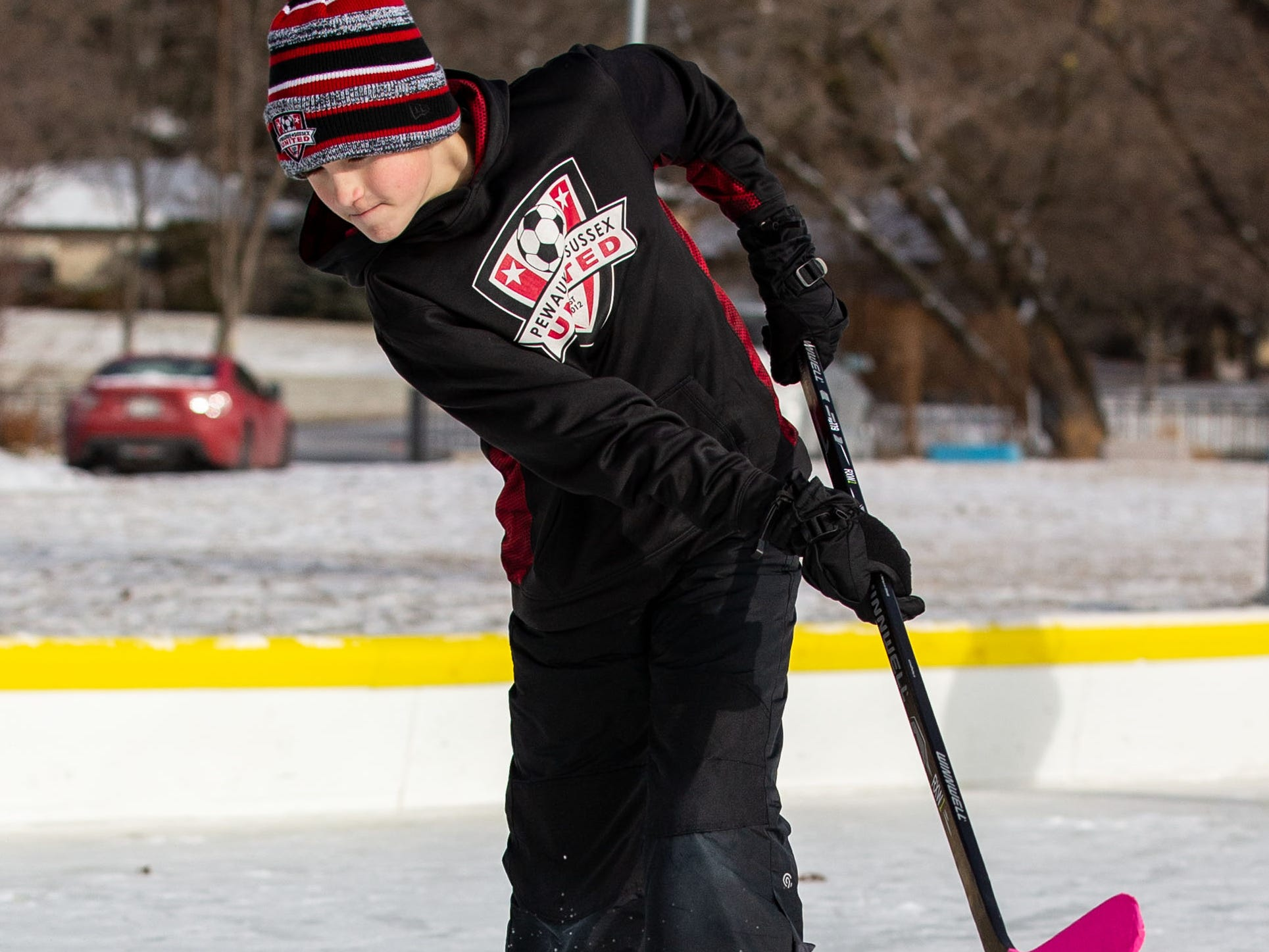 Sam Kulibert, 10, of Sussex works on his hockey technique at the Sussex Civic Center ice rink on Sunday, Dec. 30, 2018. The rink is open seven days a week as weather permits. For hours and info visit villagesussex.org.