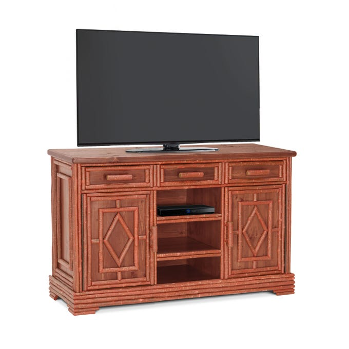 A good way to prevent toxins from entering your interior space is to buy furniture that is solid wood, rather than plywood or fiber board that is held together with glues that off-gas. This media center is of solid poplar and was manufactured by hand in Milwaukee at the La Lune factory.