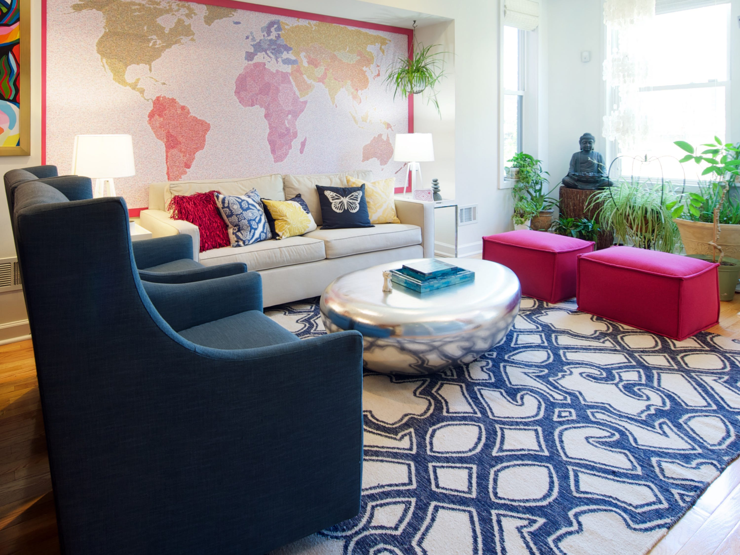 This colorful living room features furniture that meets SFC sustainability guidelines. It was an entry from Olamar Interiors in SFC's Get Your Green On interior design competition.
