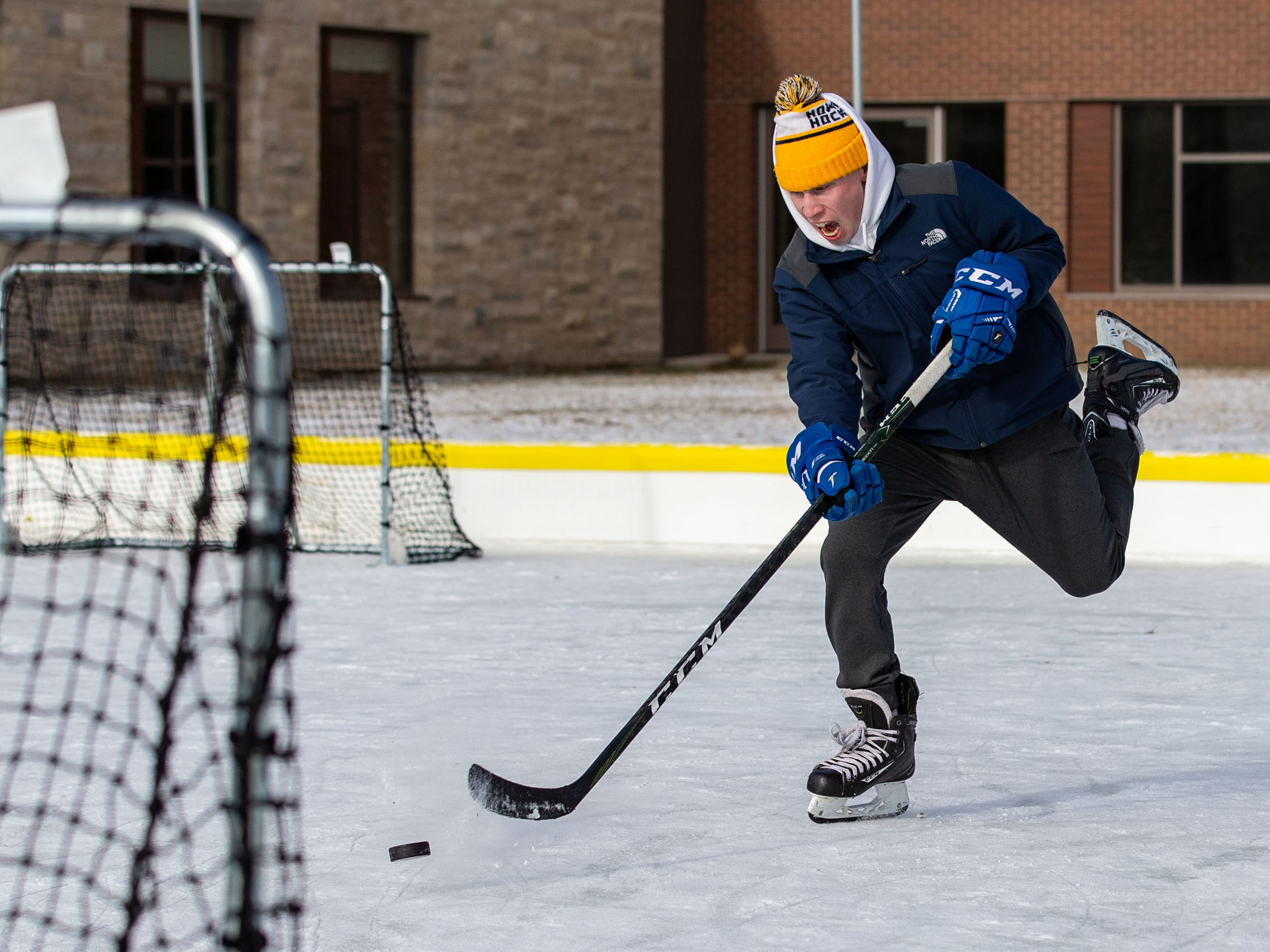 Blake Deede of Sussex practices his slap shot at the Sussex Civic Center ice rink on Sunday, Dec. 30, 2018. The rink is open seven days a week as weather permits. For hours and info visit villagesussex.org.