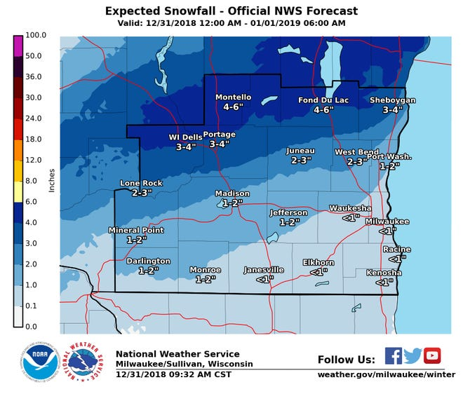 Snow is expected across portions of southern and central Wisconsin overnight Monday.