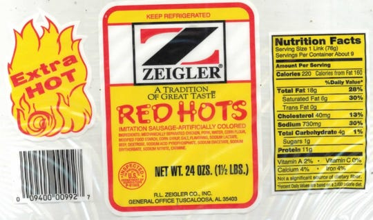 "24-oz. plastic packages containing approximately 9 links of ""EXTRA HOT ZEIGLER A TRADITION OF GREAT TASTE RED HOTS"" with a ""Use By Jan 24 19"" date."