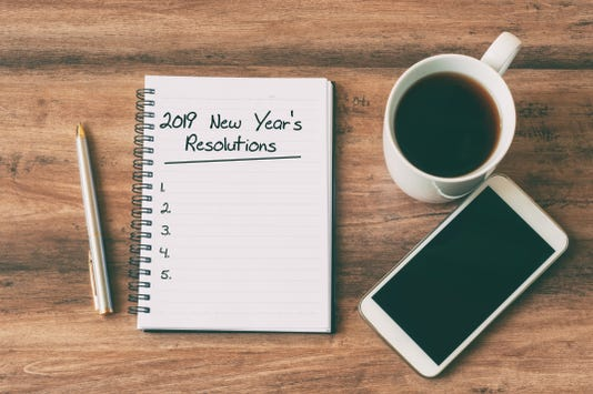 2019 New Year S Resolutions Text On Notepad