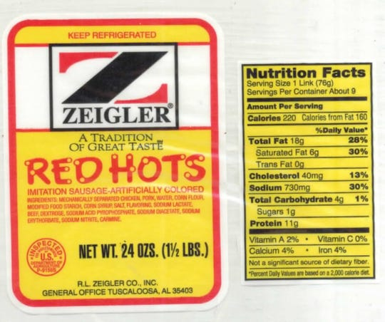 "24-oz. plastic packages containing approximately 9 links of ""ZEIGLER A TRADITION OF GREAT TASTE RED HOTS"" with a ""Use By Jan 24 19"" date."