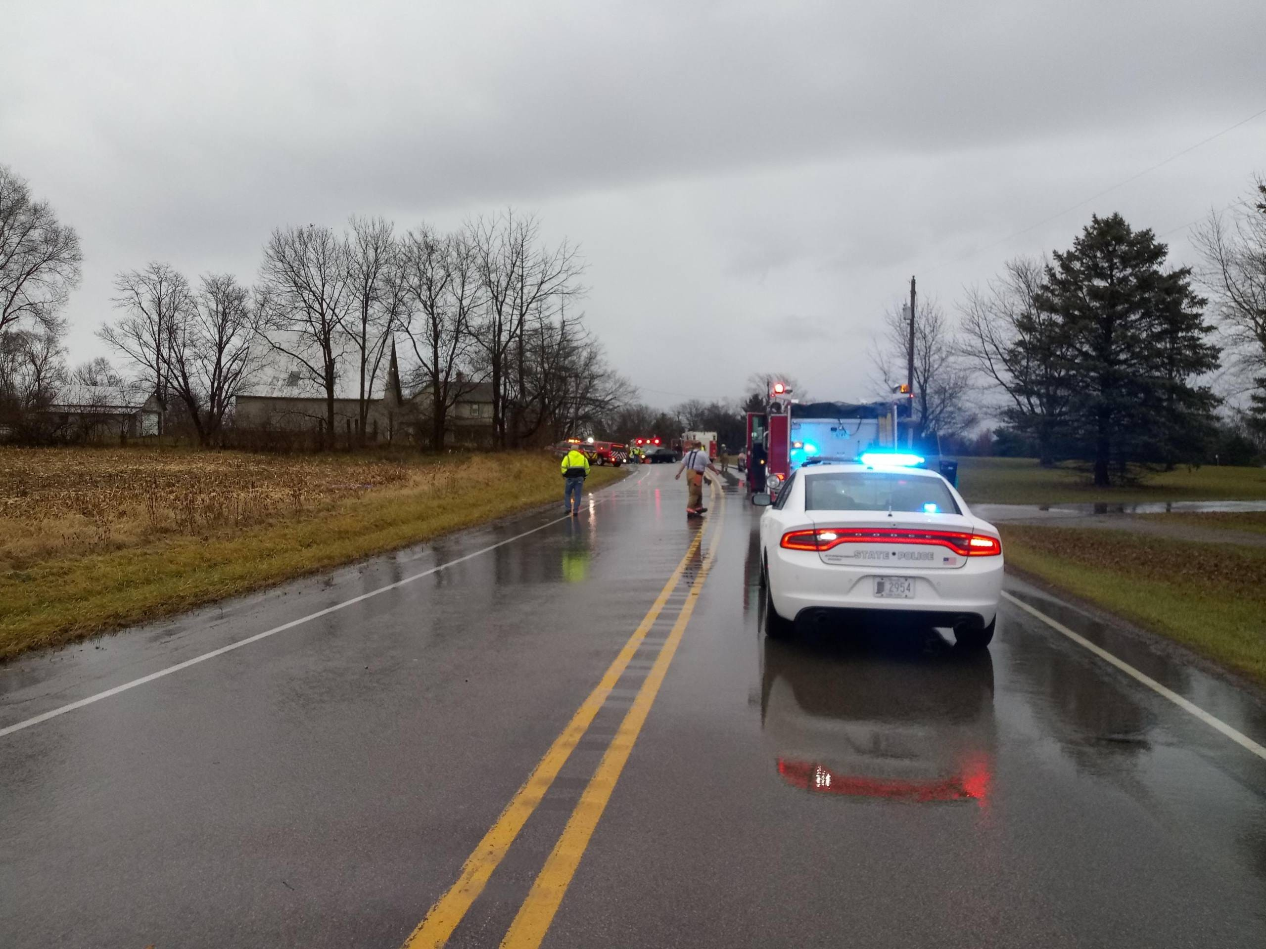 Emergency officials responded to a deadly crash on U.S. 35 Monday afternoon.