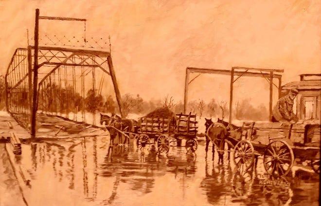 """High Street Bridge Flood,"" an oil painting by Tom Heatherly."