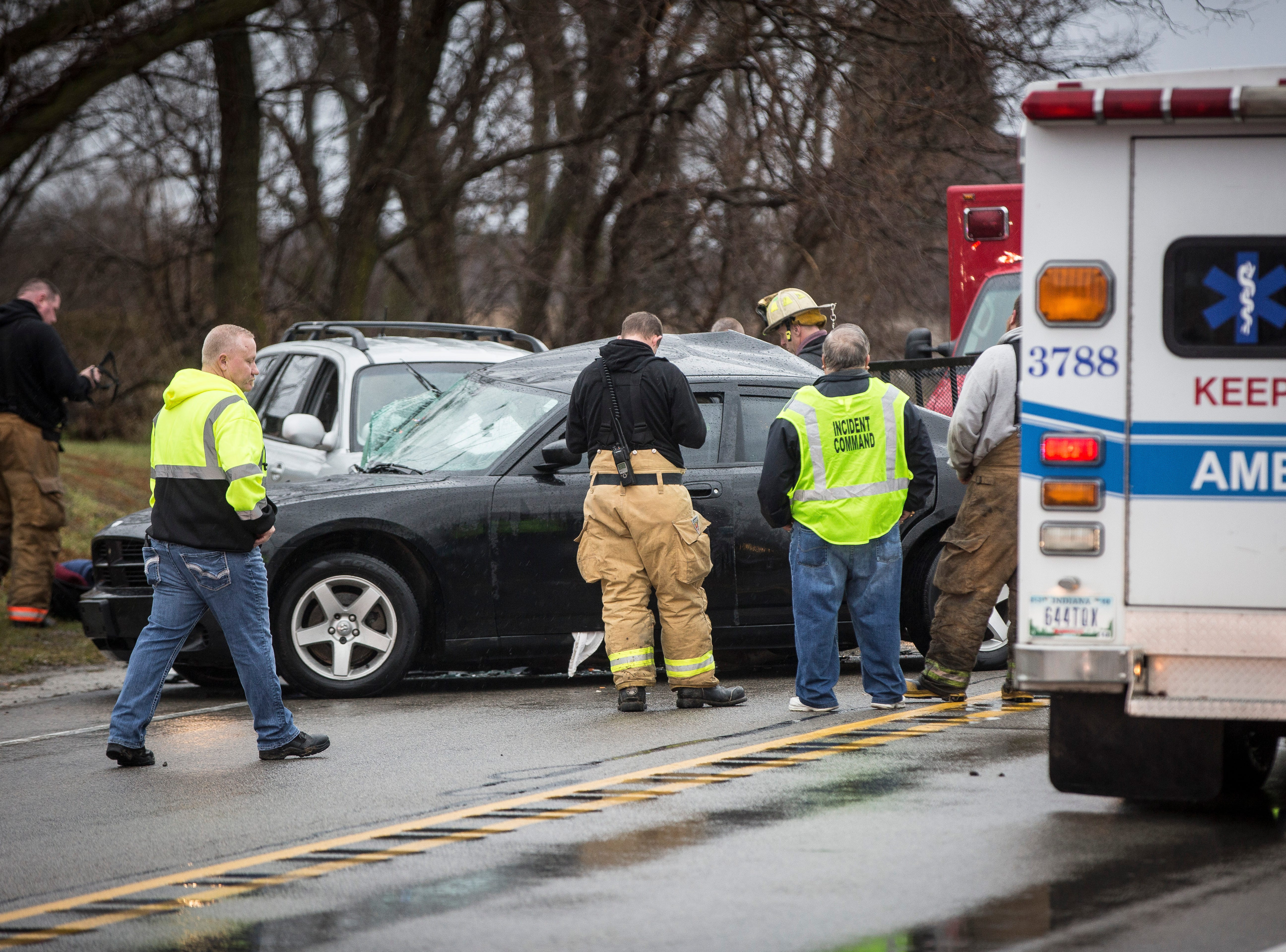 Emergency officials responded to a deadly crash on U.S. 35 Monday afternoon near Delaware County Road 500-E. One person was killed in the accident with three others injured.