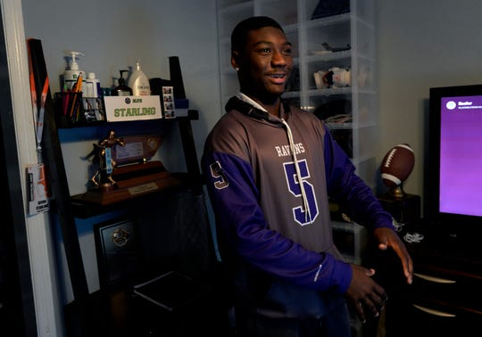 Cane Ridge High School football player and Class 6A Mr. Football, Devon Starling, put his trophy where he can see it every morning when he wakes up. Starling wants to play football in college, get a degree in accounting and an MBA.